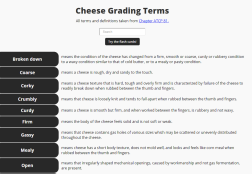 Cheese Grading Terms